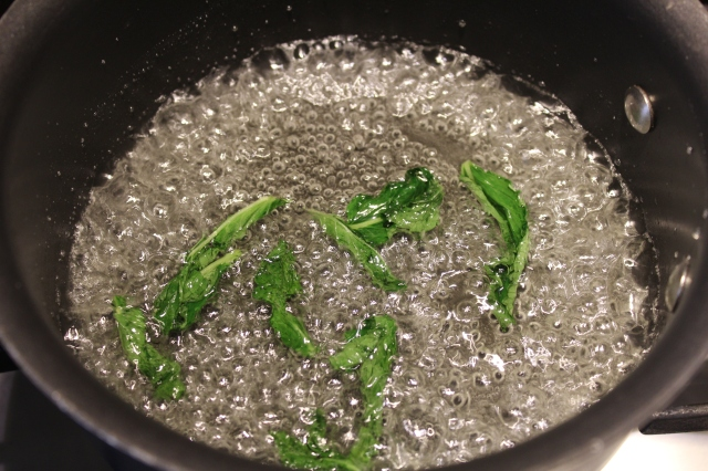 Mint simple sugar boiling
