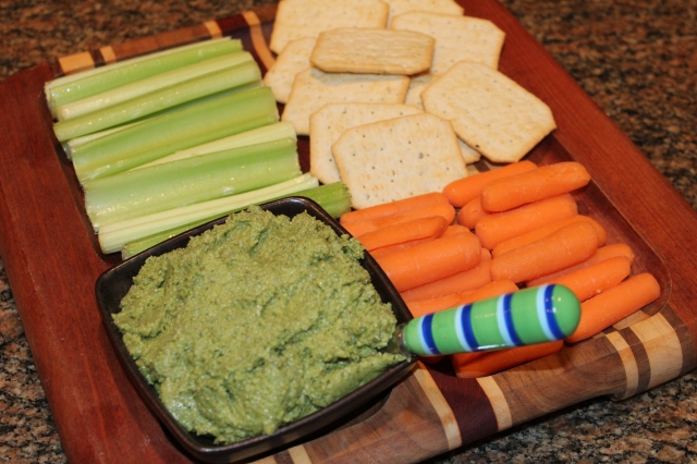 Kel's sweet pea pesto as a dip