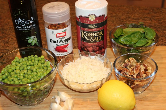 Kel's Sweet pea pesto ingredients