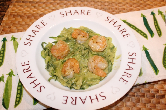 Kel's zoodles and shrimp with sweet pea pesto