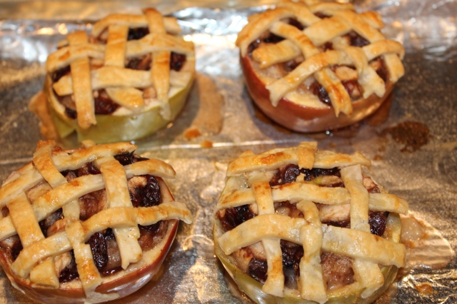 Kel's apple cranberry pies out of the oven