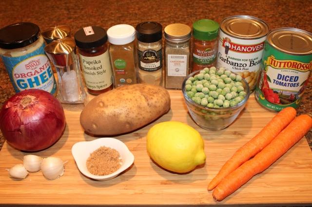 Ethiopian chickpea wat ingredients