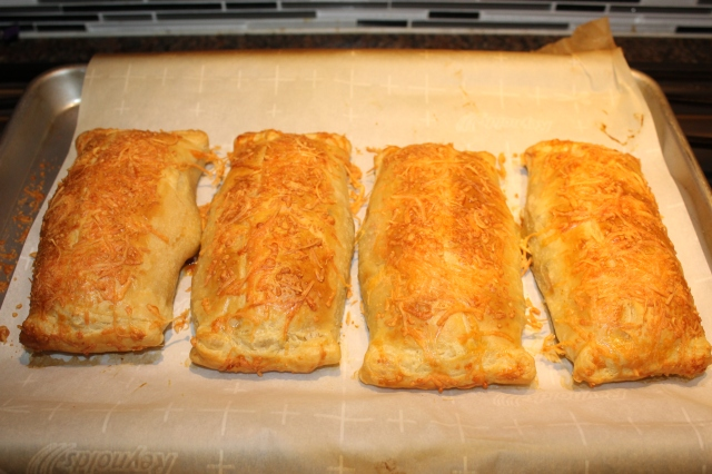 Chicken puff pastries out of the oven
