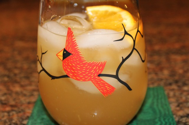 punch in a cardinal glass