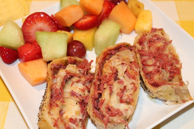Reuben roll with fruit salad
