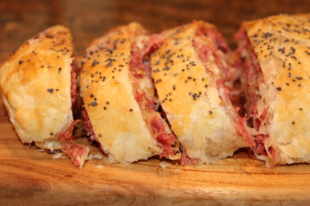 Up close slices of Reuben roll