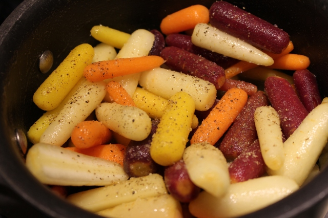 Coat carrots with honey garlic sauce