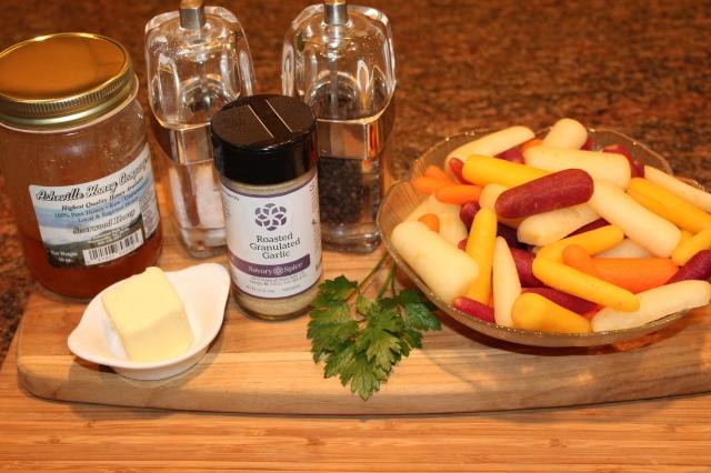 Kel's roasted garlic honey rainbow carrots ingredients