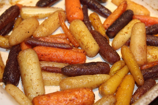 Roasted carrots out of the oven