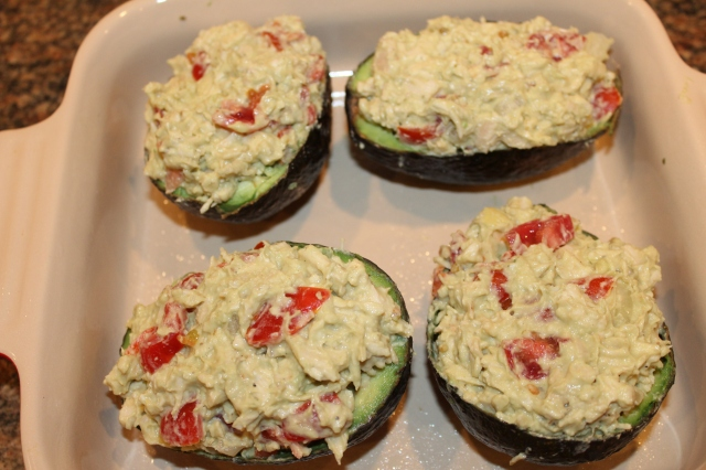 Fill avocado boats with chicken mixture