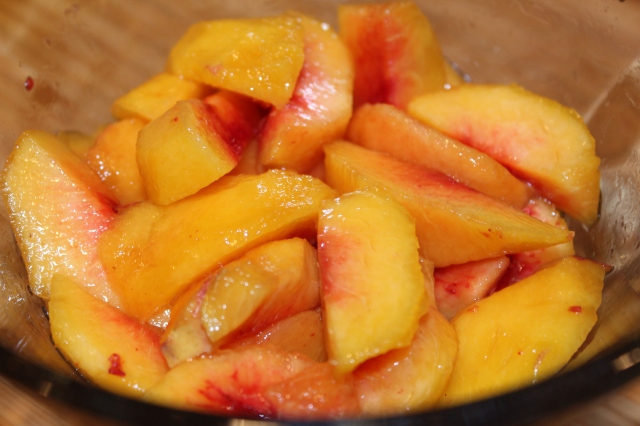 Add bourbon to peaches