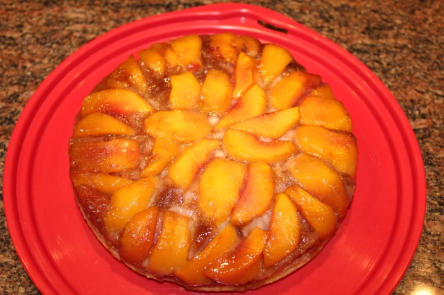 Kel's bourbon infused peach upside down cake