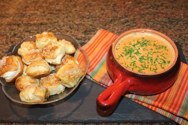 Beer cheese dip and pretzel bites