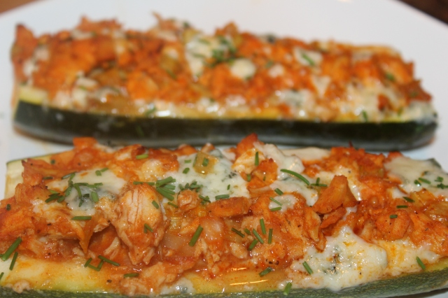 Kel's Cafe Buffalo Chicken Zucchini Boats