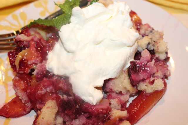 Kel's Peach and Blueberry cobbler